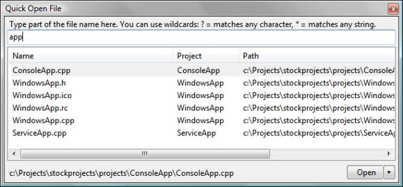 Quick Open File plugin window.