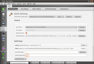 Project build settings in Qtcreator on Linux.